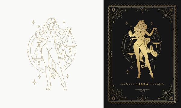 Zodiac libra girl character horoscope sign line art silhouette design vector illustration