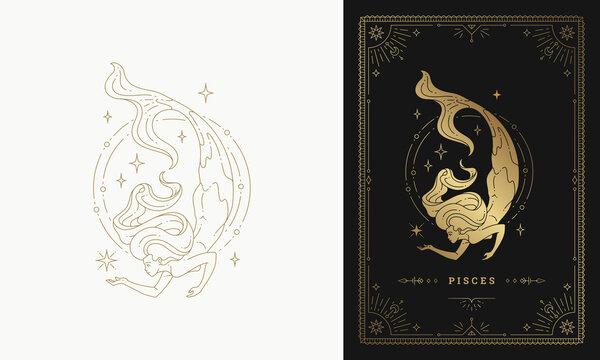 Zodiac pisces girl character horoscope sign line art silhouette design vector illustration