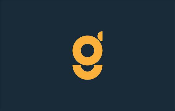 yellow color alphabet small letter g logo design