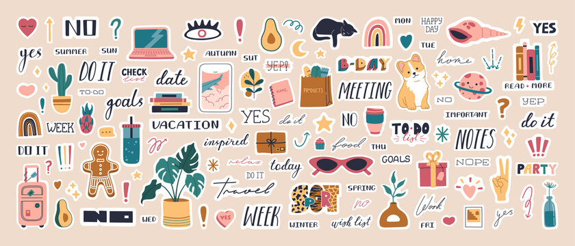 Big collection of trendy planner stickers for diaries and to do list. Cute weekly pictures and lettering, modern scheduler and organizer motivation quote. Colored vector flat cartoon illustration