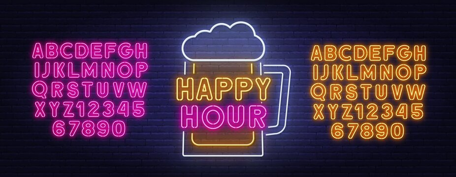 Happy Hour neon sign on brick wall background . Yellow and pink neon alphabets. Template for the design.