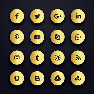 golden round social media icons premium pack