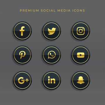 premium set of golden social media icons and logos
