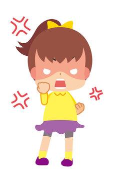 拳を握りしめて怒り狂う可愛い小さな女の子