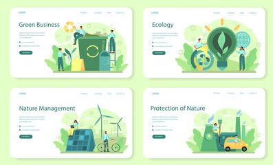 Fototapeta Ecology or eco friendly business web banner or landing page set obraz