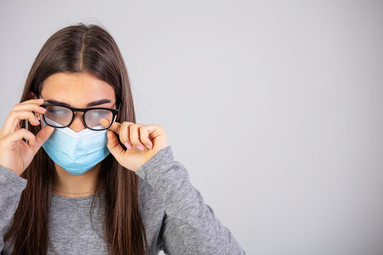 The effects of wearing a mask for people that must wear glasses. Glasses are always getting foggy. Fogged glasses. Discomfort experienced in wearing a face mask.