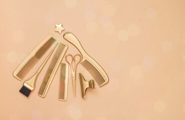 New year background with Golden hair salon accessories. Christmas tree of Barber tools, scissors,...