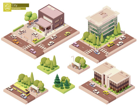 Vector isometric buildings and street elements set. Houses, homes and offices. Bus stop, trees cars and people. Isometric city or town map construction elements