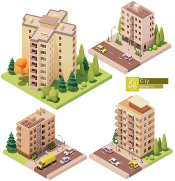 Vector isometric buildings and street elements set. Houses, homes and offices. High-rise buildings, trees, cars and people. Isometric city or town map construction elements