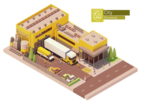 Vector isometric supermarket building. Factory or plant building exterior. Industrial facility. Office, loading docks and trucks loaded with goods. Isometric city or town map construction elements