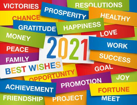 Carte de vœux 2021 montrant une multitude d'étiquettes de couleurs, présentant l'ensemble des vœux à souhaiter pour la nouvelle année.