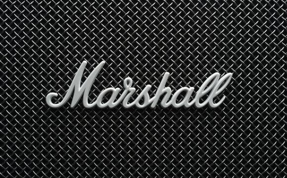 Macro shot of Marshall logo on a speaker front