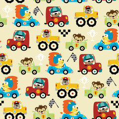 seamless pattern vector of car racing cartoon with funny racer