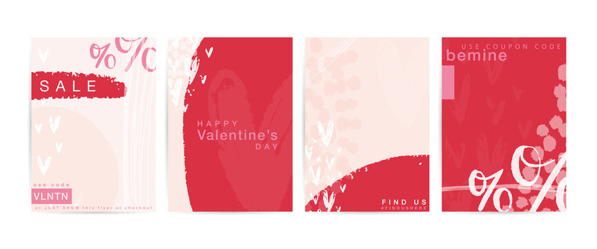 Valentines day red flyer template set with sale, Happy Valentine's day, use coupon code promotional text. Vertical 5x7 card vector design.