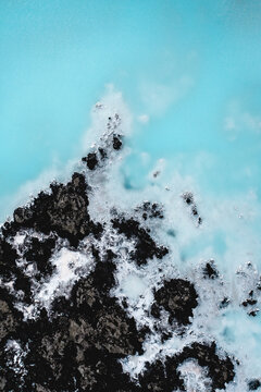 Abstract aerial view of the outside Blue Lagoon, Iceland.