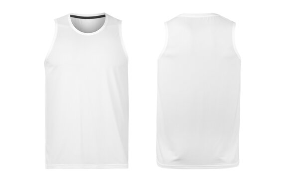 White tank top mockup front and back view isolated on white background with clipping path.