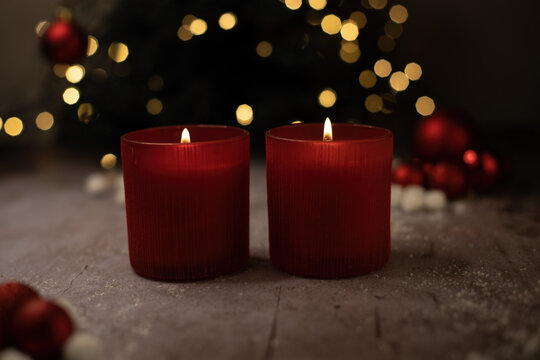 red candles and christmas decorations
