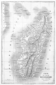 Old map of Madagascar with vintage captions. Ancient grey tone etching style art by Vuillemin, Le Tour du Monde, 1861