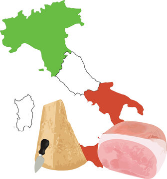 Italian cheese and cooked ham