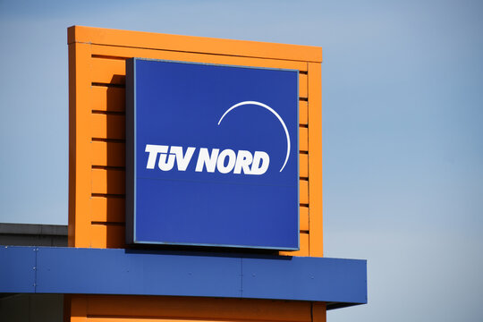 Celle, Lower Saxony, Germany - April 10, 2020:  logo of TUV Nord (Technical Inspection Association) in Celle, Germany - TÜV Nord is a technical service provider with worldwide activities