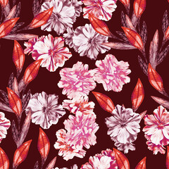 Colorful leaves with hibiscus flowers, seamless pattern.