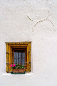 Glorenza, historic village in Venosta valley. Window