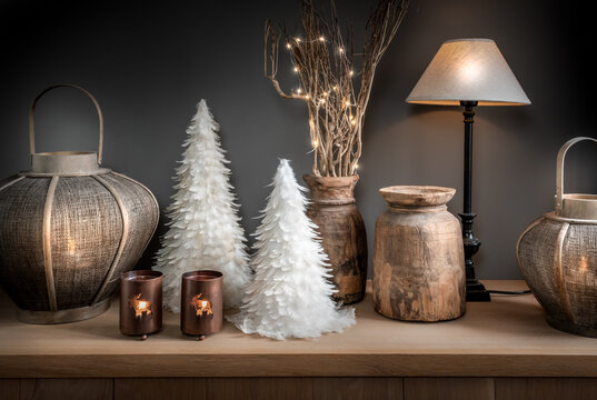 Cozy Christmas, winter and New Year interior decoration.