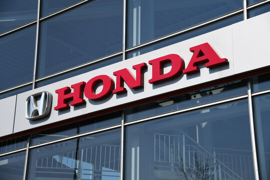 Hanover, Lower Saxony, Germany - April 12, 2020: Honda logo in Hanover Germany - Honda is a Japanese manufacturer of automobiles, motorcycles, and power equipment