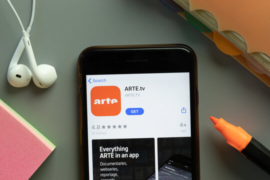 New York, USA - 1 December 2020: ARTE.tv mobile app icon on phone screen top view, Illustrative Editorial