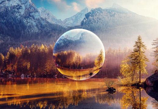 Mirror Sphere Photo Effect Mockup