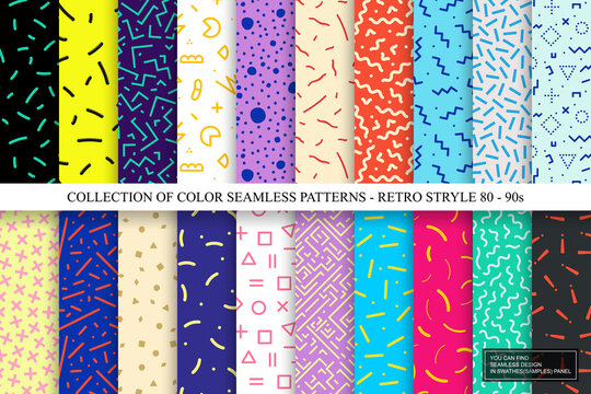 Collection of colorful seamless vibrant patterns. Fashion retro design 80-90s. Bright stylish textures. You can find repeatable backgrounds in swatches panel