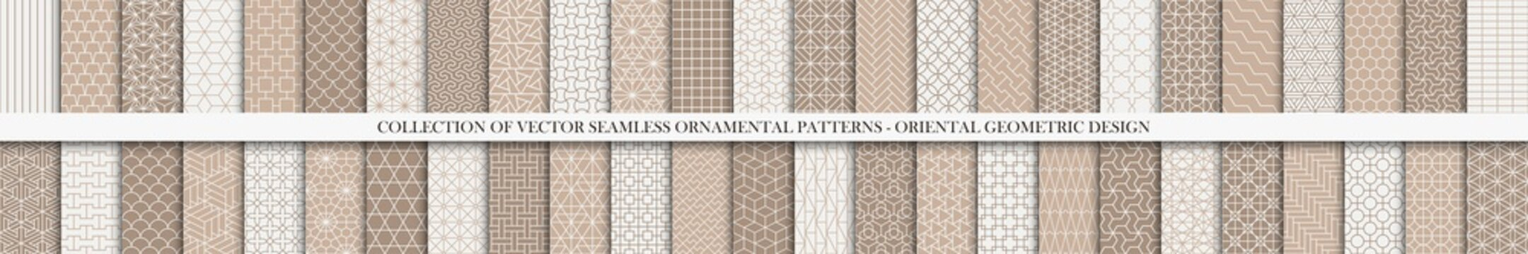 Collection of seamless ornamental vector patterns. Trendy white and brown oriental backgrounds. Creative tile mosaic design
