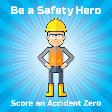 Poster design of safety campaign for score an accident zero. Construction or industrial worker.