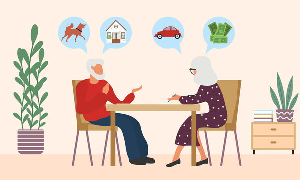 Old man and woman write a testament. Senior couple draw a will. Retirement estate planning, property transferring of pet, house, car and money. Isolated vector illustration in cartoon style