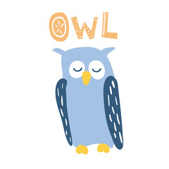 Cute blue sleeping owl in cartoon style. With OWL lettering. Good for children designs. Isolated element on white background. Vector