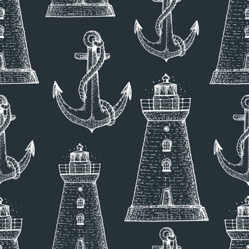 Nautical seamless pattern. Lighthouses and anchors vintage background . Hand drawn vector illustration. Retro design. Engraved style.
