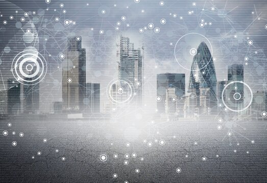 Abstract big data illustration on city background