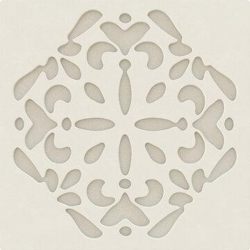 Ornamental Geometric Beige Color Leather Pattern Design