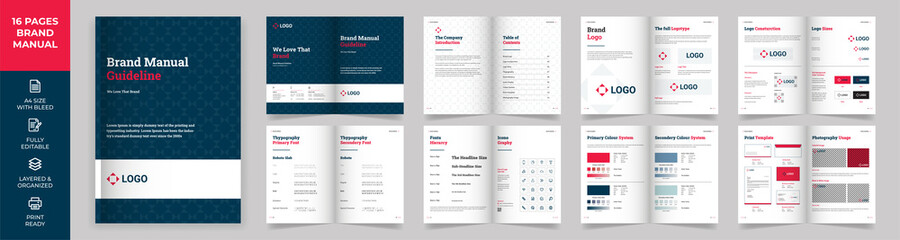 Obraz Brand Manual Template, Simple style and modern layout Brand Style , Brand Book, Brand Identity, Brand Guideline, Guide Book - fototapety do salonu