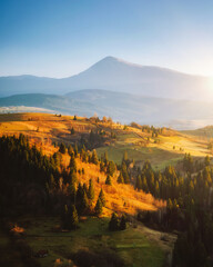 Wall Mural - Beautiful sunny day in magnificent mountain landscape.