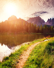 Wall Mural - Great view of the lake Antorno in National Park Tre Cime di Lavaredo.