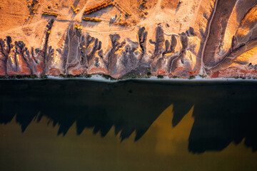 Wall Mural - Abstract view of the sandy hills of the Dnieper Bay. Location place Grand canyon Stanislav, Ukraine, Europe.