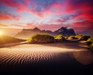 Wall Mural - Unusual view of Stokksnes cape on sunset. Location place Vestrahorn, Iceland, Europe.