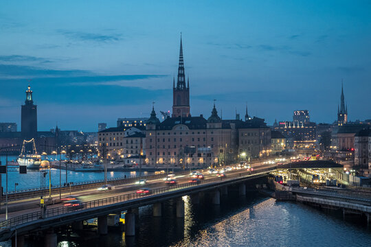 Image of Stockholm old town at sunset time