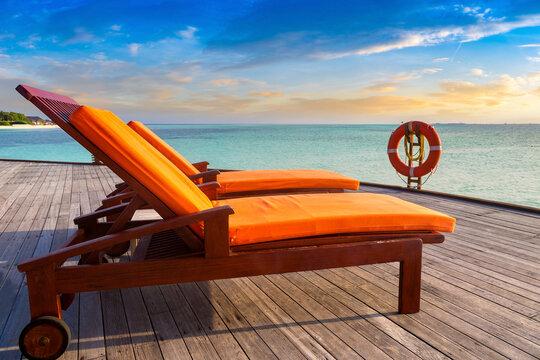 Sun bed (sunbed) at tropical resort