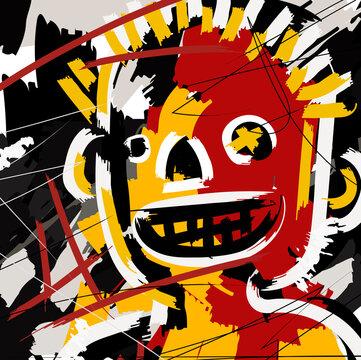outsider art face portrait doodle cartoon