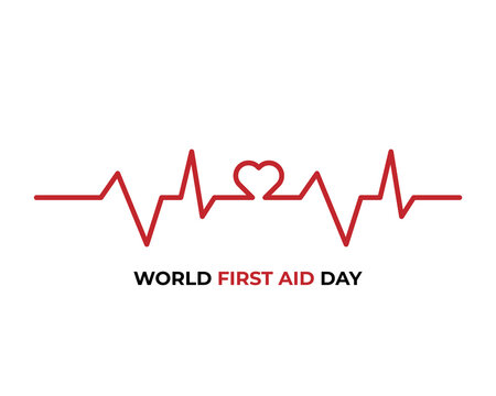 World Heart Day web banner illustration of red heartbeat line for healthy lifestyle and exercise. EPS10 vector.