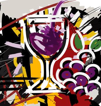 sketch graffiti of a glass full of wine