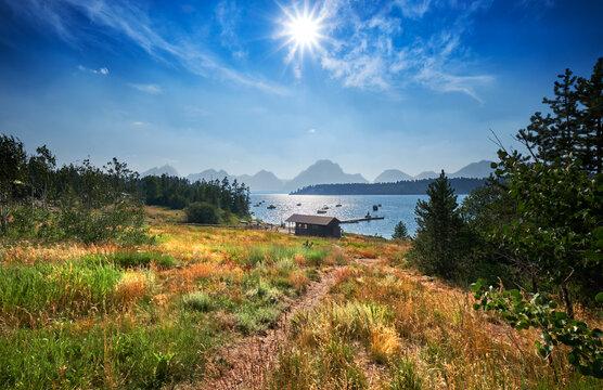 Warm Summer afternoon at the dock near Signal Mountain Lodge,  Jackson Lake, Wyoming