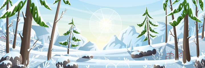 Winter landscape panorama. Vector illustration with separate layers.